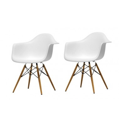 2 X DAW Dining Armchair with Wood Eiffel Legs in White