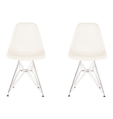 2 X DSR Dining Shell Chair with Steel Eiffel Legs in White