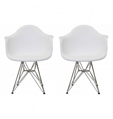2 X Eames Style DAR Dining Armchair with Steel Eiffel Legs in White