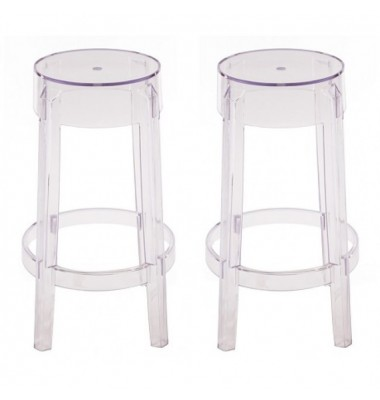 2 X Victoria Ghost Style Clear Color Counter Stool