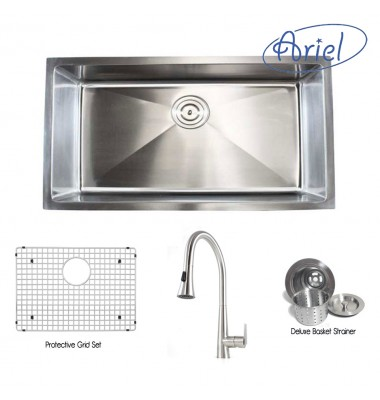 Ariel 32 Inch Stainless Steel Undermount Single Bowl Kitchen Sink with Eclipses Stainless Steel Faucet