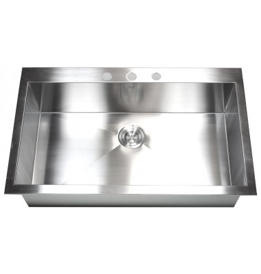 36 Inch Top-Mount / Drop-In Stainless Steel Single Bowl Kitchen Sink Zero Radius Design
