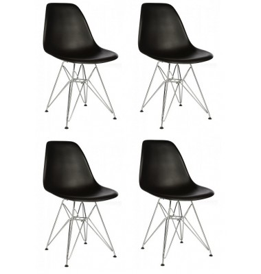4 X  DSR Dining Shell Chair with Steel Eiffel Legs in Black