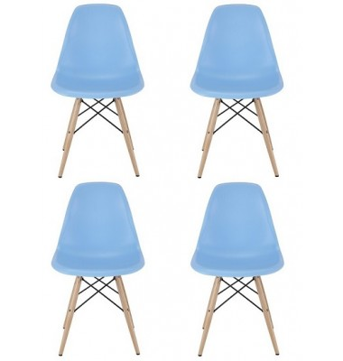 4 X  DSW Dining Shell Chair with Wood Eiffel Legs in Sky Blue