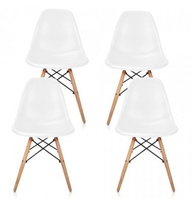 4 X DSW Dining Shell Chair with Wood Eiffel Legs in White