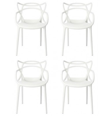 4 X Midcentury Modern Masters Dining Chair In White