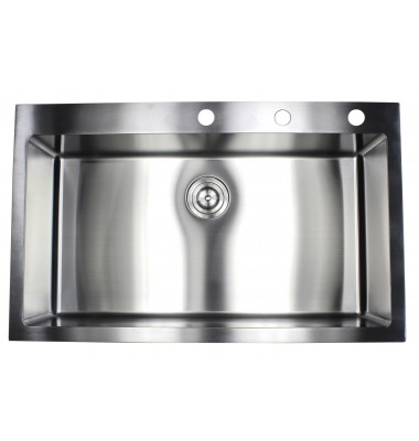 36 Inch Top-Mount / Drop-In Stainless Steel Single Bowl Kitchen Sink 15mm Radius Design