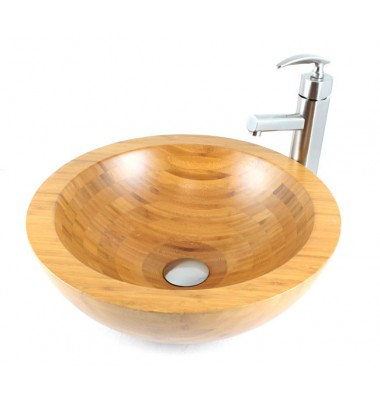 Serenity - Bamboo Countertop Bathroom Lavatory Vessel Sink - 16-1/2 x 5-3/4 Inch