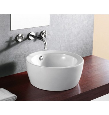 18-1/6 Inch Round European Design White / Black Porcelain Ceramic Countertop Bathroom Vessel Sink