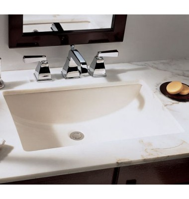 21 Inch Rectangular Biscuit Porcelain Ceramic Vanity Undermount Bathroom Vessel Sink