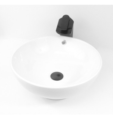 16-1/2 Inch Round White Porcelain Ceramic Countertop Bathroom Vessel Sink