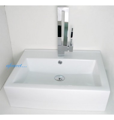 20-1/2 Inch Rectangular Porcelain Ceramic Single Hole Countertop Bathroom Vessel Sink