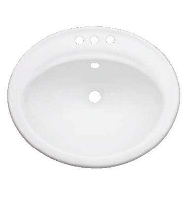 Porcelain Ceramic Vanity Drop In Bathroom Vessel Sink - 22-1/4 x 19 x 8 Inch