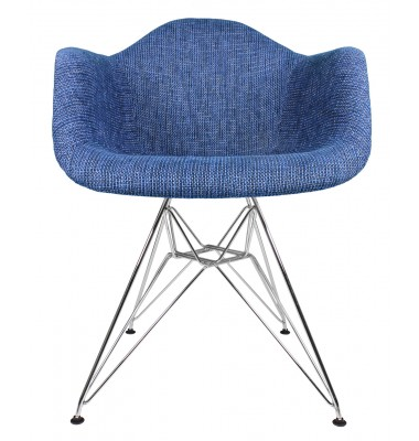Designer Denim Blue Woven Fabric Upholstered Accent Arm Chair