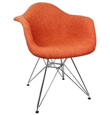 Designer Orange Woven Fabric Style Accent Arm Chair