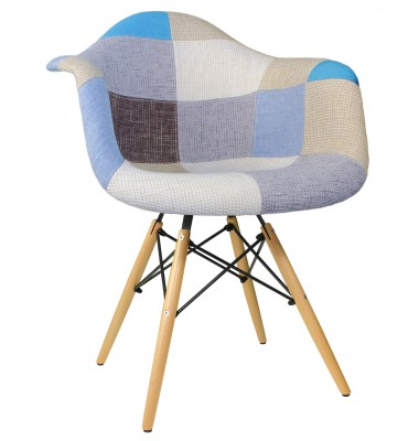 Designer Patchwork Fabric Upholstered Mid-Century Style Accent Arm Chair