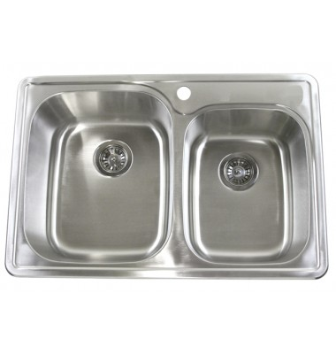 33 Inch Top-Mount / Drop-In Stainless Steel Double Bowl Kitchen Sink with 1 Hole Drilling