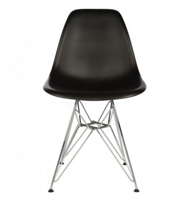 DSR Dining Shell Chair with Steel Eiffel Legs in Black