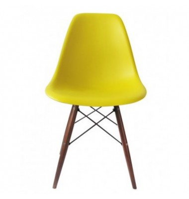 DSW Dining Shell Chair with Dark Walnut Eiffel Legs in Yellow