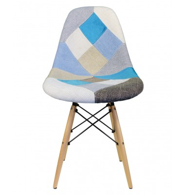 Designer Patchwork Fabric Upholstered Mid-Century Style Accent Side Dining Chair
