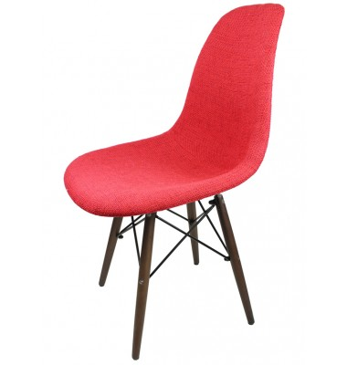 Designer Red Fabric Upholstered Style Accent Chair With Dark Walnut Wood Eiffel Legs