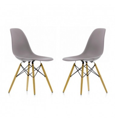 2 X DSW Dining Shell Chair with Wood Eiffel Legs in Gray