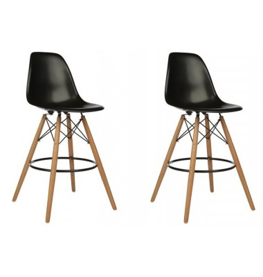 2 X Eames Style DSW Plastic Bar Stool with Wood Eiffel Legs in Black