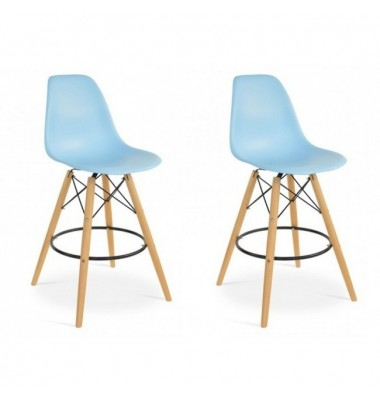 2 X DSW Plastic Bar Stool with Wood Eiffel Legs in Sky Blue