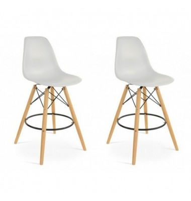 2 X DSW Plastic Bar Stool with Wood Eiffel Legs in Light Gray