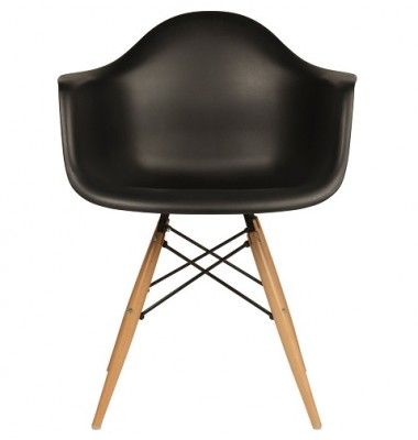 DAW Dining Armchair with Wood Eiffel Legs in Black