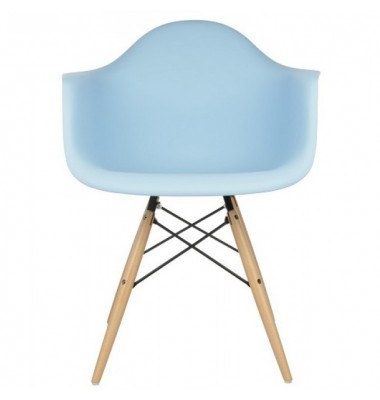 DAW Dining Armchair with Wood Eiffel Legs in Sky Blue