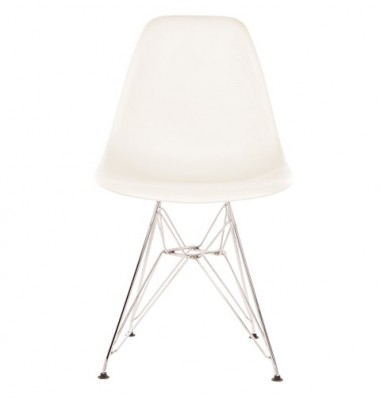 DSR Dining Shell Chair with Steel Eiffel Legs in White