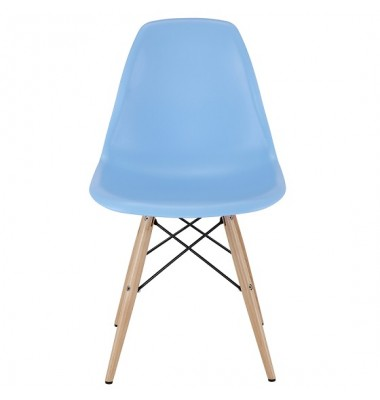 Eames Style DSW Dining Shell Chair with Wood Eiffel Legs in Sky Blue