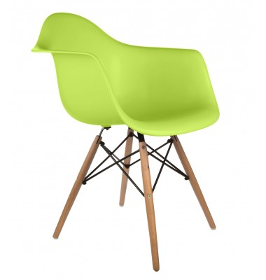 Eames Style DAW Dining Armchair with Wood Eiffel Legs in Green