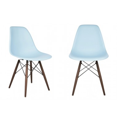 2 X DSW Dining Shell Chair with Dark Walnut Eiffel Legs in Sky Blue