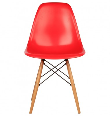 DSW Dining Shell Chair with Wood Eiffel Legs in Red
