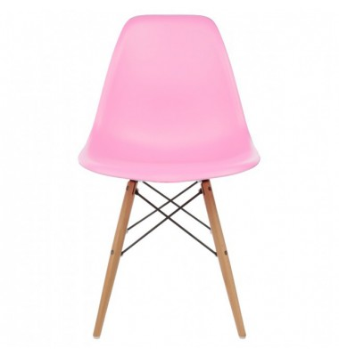 Eames Style DSW Dining Shell Chair with Wood Eiffel Legs in Pink