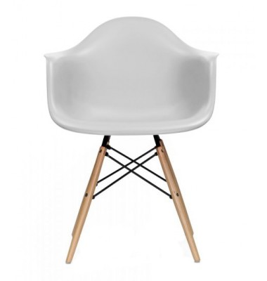 DAW Dining Armchair with Wood Eiffel Legs in Light Gray