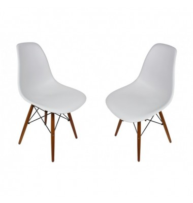 2 X DSW Dining Shell Chair with Dark Walnut Eiffel Legs in Light Gray
