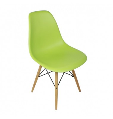 DSW Dining Shell Chair with Wood Eiffel Legs in Light Green