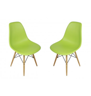 2 X DSW Dining Shell Chair with Wood Eiffel Legs in Light Green