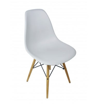 DSW Dining Shell Chair with Wood Eiffel Legs in Light Gray