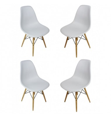 4 X Eames Style DSW Dining Shell Chair with Wood Eiffel Legs in Light Gray