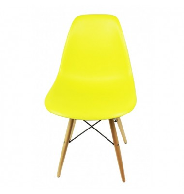 DSW Dining Shell Chair with Wood Eiffel Legs in Citrus Yellow