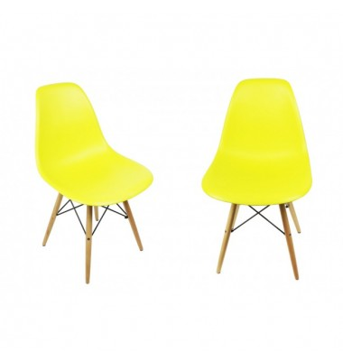 2 X DSW Dining Shell Chair with Wood Eiffel Legs in Citrus Yellow