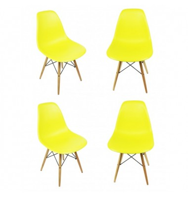 4 X DSW Dining Shell Chair with Wood Eiffel Legs in Citrus Yellow
