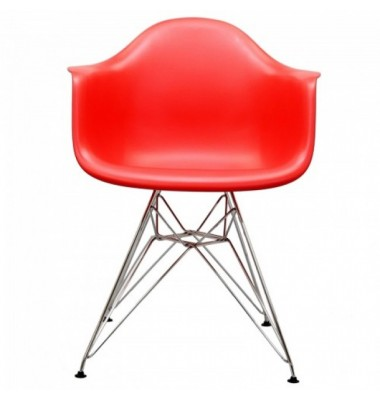 DAR Dining Armchair with Steel Eiffel Legs in Red