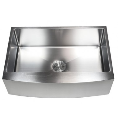 33 Inch Stainless Steel Curved Front Farm Apron Kitchen Sink - 15mm Radius Design Single Bowl