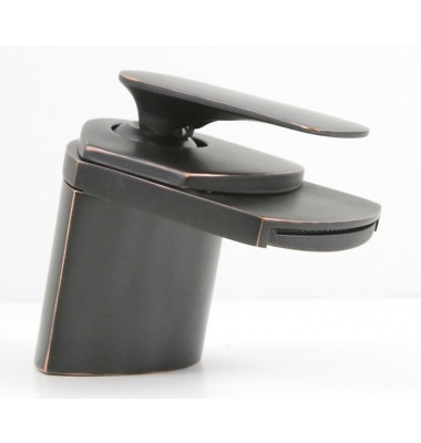 Contemporary Waterfall Flat Spout Single Hole Bathroom Faucet - 5 x 2-1/2 Inch Venetian Bronze
