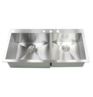 43 Inch Top Mount Drop In Stainless Steel Double Bowl